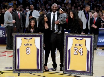 Kobe Bryant With Family & Retired Jerseys
