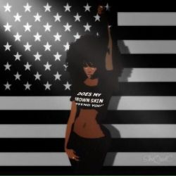 B&W American Flag, And The Black Female