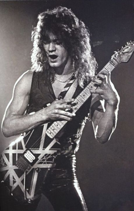 Eddie Van Halen Playin' B&W Photo