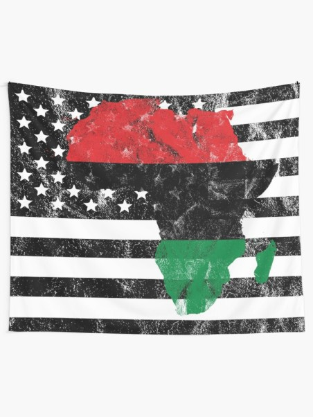 RBG Africa over BxW American Flag