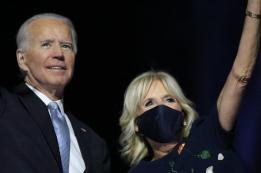 Joe Biden With Jill Biden Wearing A Mask