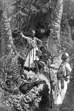 The Arab slave trade was the intersection of slavery and trade in the Arab world, mainly in Western Asia, North Africa, East Africa, India and Europe. Some historians assert that as many as 17 million people were sold into slavery on the coast of the Indian Ocean, the Middle East, and North Africa, and approximately 5 million African slaves were transported by Muslim slave traders via Red Sea, Indian Ocean, and Sahara desert to other parts of the world between 1500 and 1900. Africa illustrated by William. R. Smith; illustrated by the most eminent artists, 1889 (cropped and cleaned).